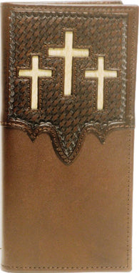 (WFAC762) Western Brown Leather Rodeo Wallet with Triple Hair-On Inlay Crosses