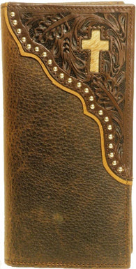 (WFAC822) Western Leather Rodeo Wallet with Cross