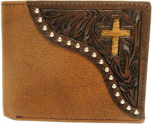 Load image into Gallery viewer, (WFAC822B) Western Leather Bi-Fold Wallet with Cross
