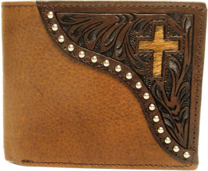 (WFAC822B) Western Leather Bi-Fold Wallet with Cross
