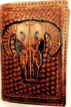 Load image into Gallery viewer, (WFAC802T) Western Embossed Skull Tri-Fold Wallet