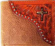 Load image into Gallery viewer, (WFAC824B) Western Natural Tooled Leather with Hair-On Inlaid Cross Bi-Fold Wallet