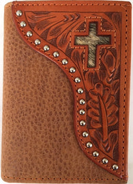 (WFAC824T) Western Natural Tooled Leather with Hair-On Inlaid Cross Tri-Fold Wallet