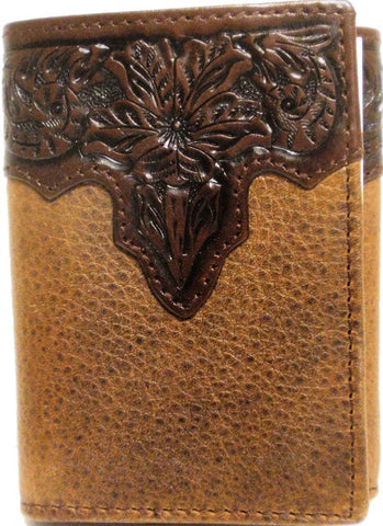 (WFAC832T) Western Tooled Leather Tri-Fold Wallet