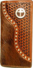 Load image into Gallery viewer, (WFAC93) Western Hair-On/Basketweave Rodeo Wallet/Checkbook Cover with Cross Concho