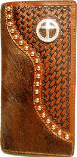 (WFAC93) Western Hair-On/Basketweave Rodeo Wallet/Checkbook Cover with Cross Concho