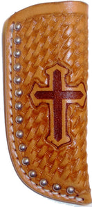 (WFAKK03N) Western Natural Basketweave Knife Sheath with Cross