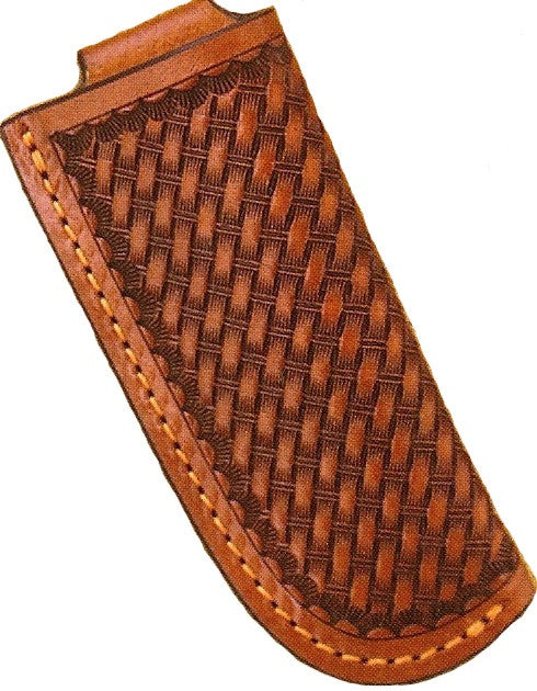 (WFAKS113) Western Tan Leather Basketweave Knife Sheath