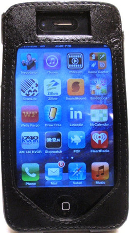 (WFAPC-1) Western Black Leather iPhone4 Protective Case