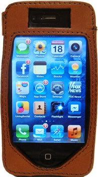 (WFAPC-2) Western Brown Leather iPhone4 Protective Case