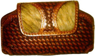 (WFAPC1043) Leather & Hair-On Basketweave Cell Phone Holder (Holds iPhone4 & Blackberry)