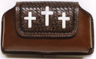(WFAPC1062) Western Leather Triple Cross Hair Inlaid Cell Phone Holder for iPhone4 & Blackberry