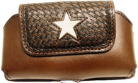 (WFAPC1072) Western Brown Leather Cellphone Holder with Hair Star Inlay for iPhone4 & Blackberry