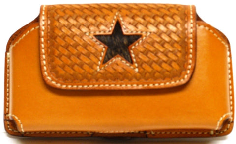 (WFAPC1074) Western Leather Cellphone Holder with Hair Star Inlay for iPhone 4 & Blackberry