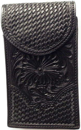 (WFAPC1211) Western Black Floral Tooled/Basketweave Cell Phone Holder for iPHone 5, Samsung Notebook II and III
