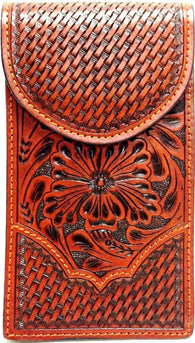 (WFAPC1213) Western Tan Floral Tooled/Basketweave Cell Phone Holder for Samsung Notebook II and III