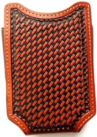 (WFAPC1242) Western Tan Basketweave Open Top Cell Phone Case