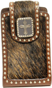 (WFAPC762) Western Hair-On Cell Phone Holder with Cross for iPhone4 & Blackberry