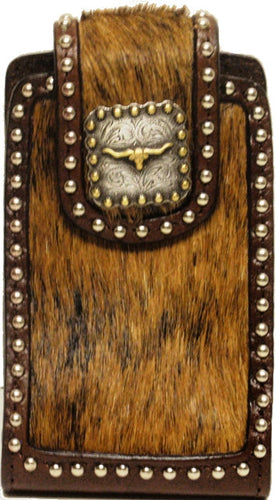 (WFAPC762BLS) Western Hair-On Cell Phone Holder with Longhorn Concho for iPhone & Blackberry