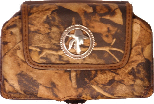 (WFAPC779CG) Leather Camo Cell Phone Holder for iPhone4 & Blackberries (Cowgirl Concho)