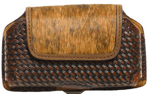 (WFAPC782) Western Leather/Hair-On Basketweave Cell Phone Holder for iPhone4 & Blackberry