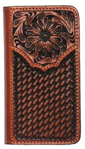 (WFAPH104P) Western Tooled/Basketweave Cell Phone Holder/Wallet for iPhone 6+