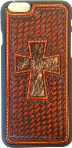 (WFAPH32) Western Basketweave Snap Case with Hair-On Cross for iPhone 6
