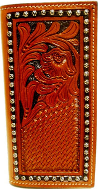 (WFAR01C) Western Tan Tooled Rodeo Wallet/Checkbook Cover