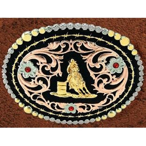 "(WFATBB2000BL) ""Barrel Racer"" Western Tri-Color Belt Buckle"
