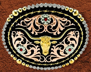 "(WFATBB2000LH) ""Longhorn"" Western Tri-Color Belt Buckle"