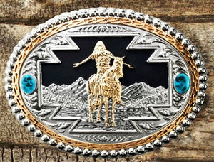 "(WFATBB3300GS) ""Great Spirit"" Western Silver, Gold & Turquoise Belt Buckle"