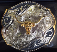 (WFATBB4000LH) Western Longhorn Scalloped Belt Buckle