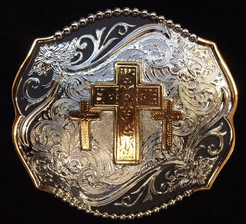 (WFATBB4000TC) Western Silver, Gold & Black Triple Cross Belt Buckle