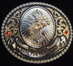 "(WFATBB4626) ""I Ride For The Lord"" Western Belt Buckle"
