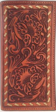(WFAXRC-12) Twisted-X Western Tooled Rodeo Wallet with Buckstitch