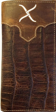 (WFAXRC-9) Twisted-X Brown Gator Leather Rodeo Wallet