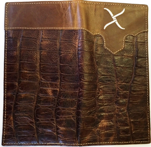 Twisted X Brown Gator Leather Rodeo Wallet Xrc 9 Wild