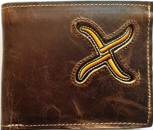 (WFAXRC-B2) Twisted-X Brown Leather Bi-Fold Wallet with Gold Embroidered Logo