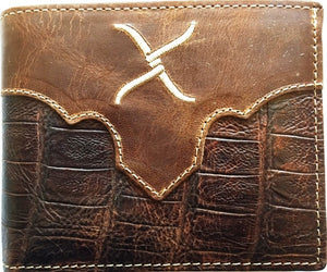 (WFAXRC-B9) Twisted-X Western Gator Print Leather Bi-Fold Wallet