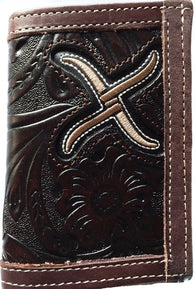 (WFAXRC-T5) Twisted-X Chocolate Tooled Leather Tri-Fold Wallet