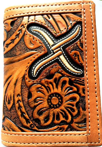 (WFAXRC-T6) Twisted-X Tan Tooled Leather Tri-Fold Wallet