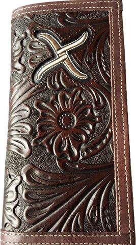 (WFAXRC5) Twisted-X Western Floral Chocolate Tooled Rodeo Wallet