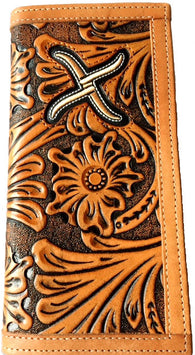 (WFAXRC6) Twisted-X Western Floral Tan Tooled Rodeo Wallet