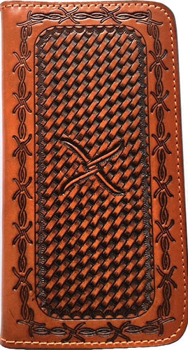 (WFAXWP3-8) Twisted-X Western Basketweave Cell Phone Case/Wallet for iPhone 6 Plus