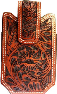(WFAXWPC3-2) Western Tooled Cognac Cell Phone Holder - Fits 6""
