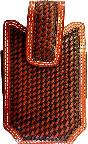 (WFAXWPC3-3) Western Basketweave Cognac Cell Phone Holder - Fits 6