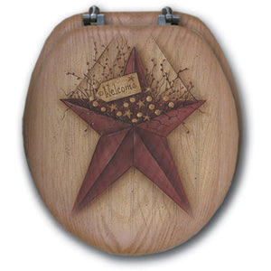 "(WG-WBS) ""Welcome Barn Star"" Round Western Toilet Seat"