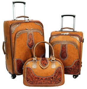 Western Tooled Leather 3-Piece Wheeled Luggage Set - Brown