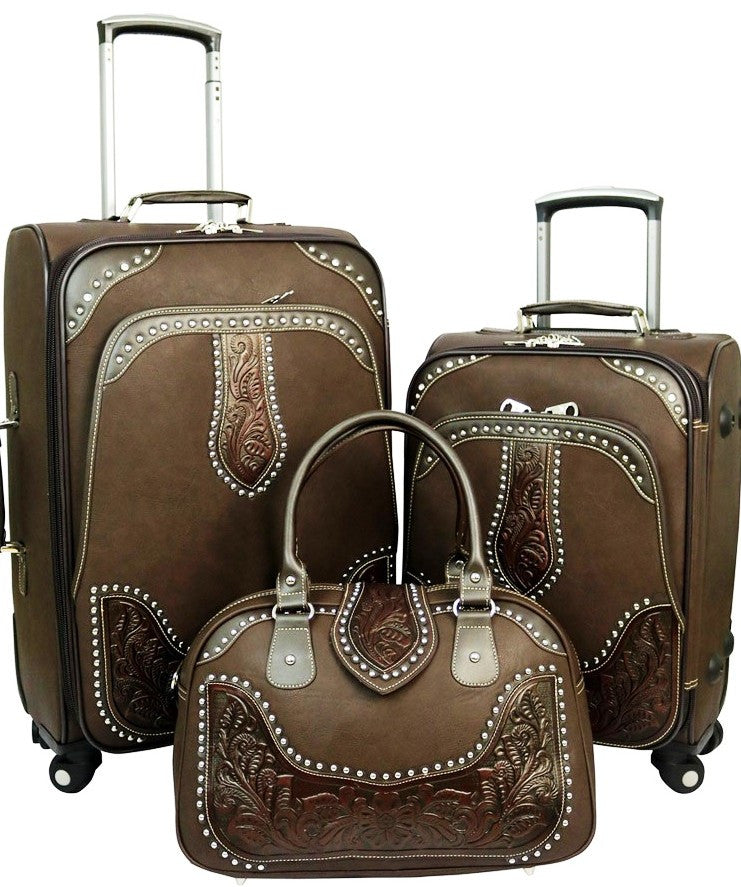 Western Tooled Leather 3-Piece Wheeled Luggage Set - Coffee