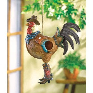 (WSM37973) Cowboy Rooster Birdhouse